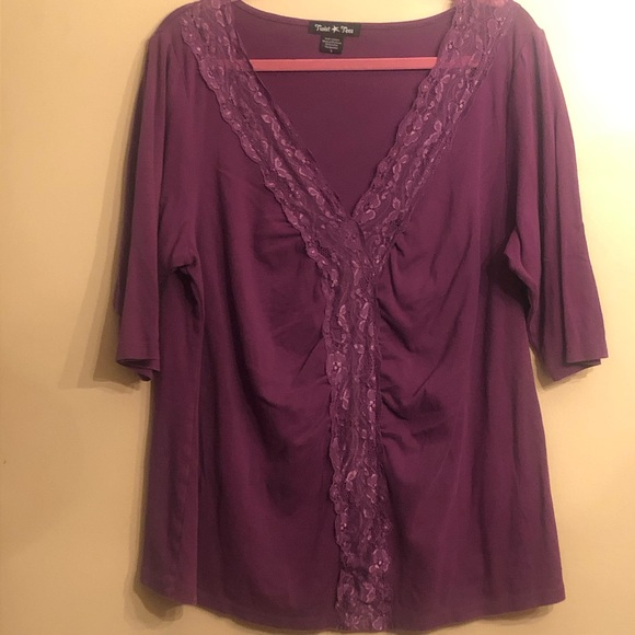 💜 Purple lace Front 1/2 sleeve shirt